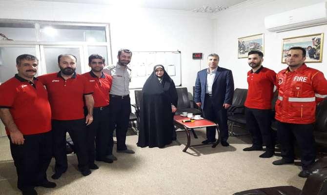بازدید فاطمه شیرزاد عضو شورای اسلامی شهر رشت از ایستگاه 9 آتش نشانی شهرداری رشت