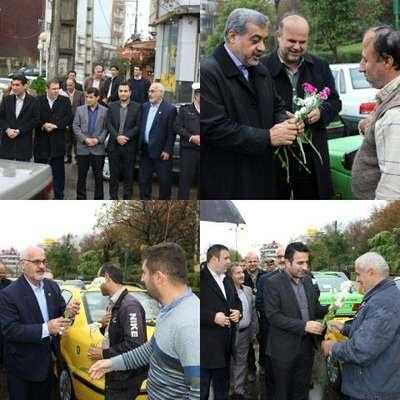 فرماندار ،شهردار ، رئیس و اعضای شورای شهر لاهیجان با اهدای گل از رانندگان تاکسی تقدیر کردند
