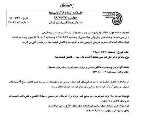 اخطار جدید هواشناسی/ افزایش آلودگی هوای تهران از فردا تا چهارشنبه آینده