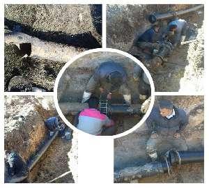 رفع خرابی خط انتقال آب شرب مجتمع هاشم آباد شهرستان...
