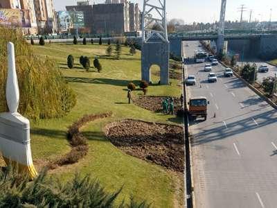 فضای سبز میدان سید حسن نصرالله بازپیرایی شد