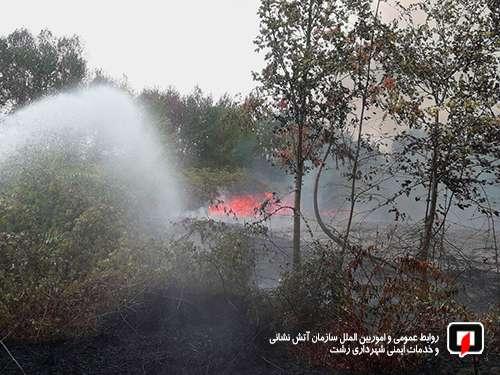 عملیات سخت ونفس گیرآتش نشانان در پی آتش سوزی جنگل و علفزارها/ آتش نشانی رشت
