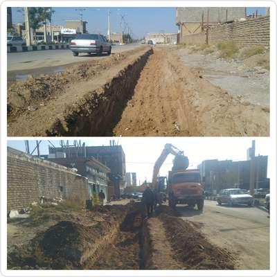 عملیات حفاری در خیابان نظام الملک جهت اجرای کانال جمع آوری و دفع آبهای سطحی