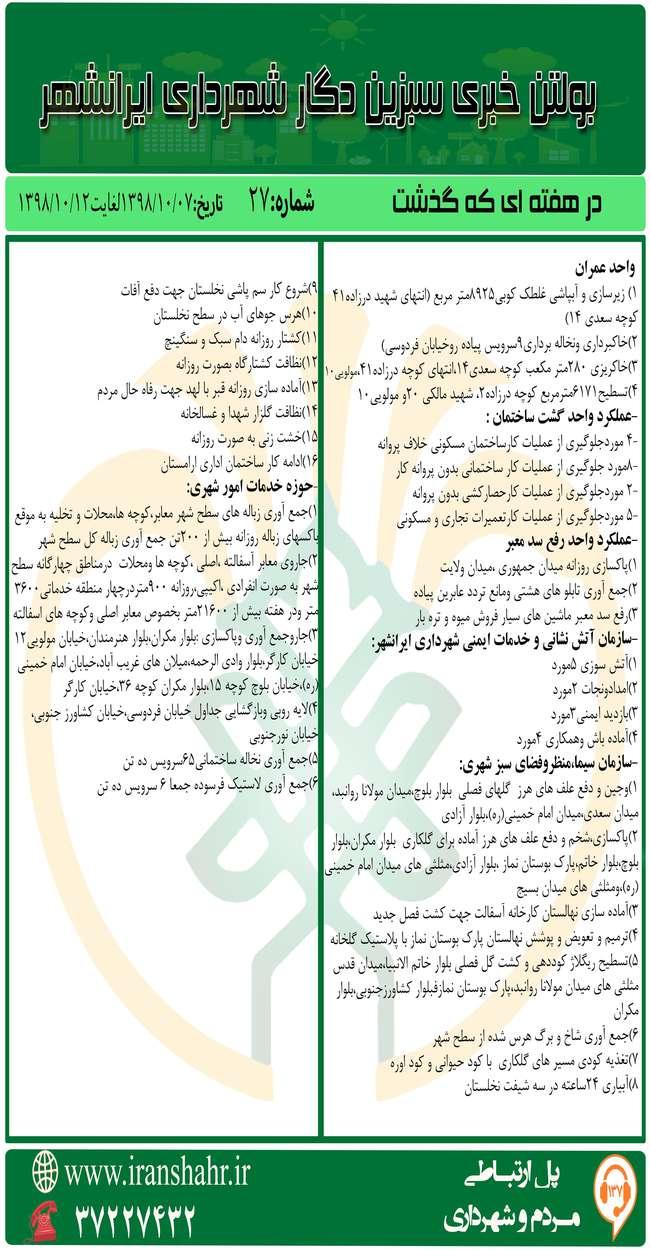 بولتن خبری شهرداری ایرانشهر از تاریخ 98/10/7لغایت98/10/12