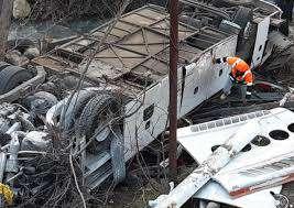 نقص فنی ترمز عامل اصلی واژگونی اتوبوس در جاده فیروزکوه