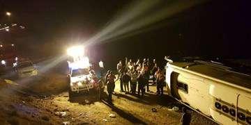 «نقص فنی ترمز » عامل واژگونی اتوبوس تهران-گنبد اعلام شد