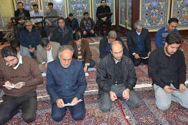 برگزاری مراسم زیارت عاشورا و گرامیداشت سپهبد شهید حاج قاسم سلیمانی در شرکت برق منطقهای غرب