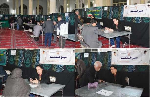 برپايي ميز خدمت بنياد مسکن انقلاب اسلامي در مسجد حضرت بقيه الله اعظم منطقه شهر قائم قم
