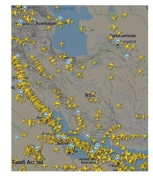 افزایش پروازهای عبوری از آسمان ایران + عکس