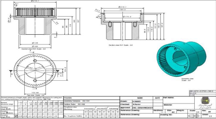 ساخت داخل كوپلينگ دنده اي  هيدروكوپلينگ پمپ تغذيه اصلي واحد شماره 4 نيروگاه حرارتی شازند