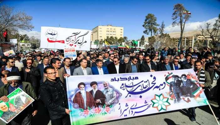 حضور اعضای شورای شهر شیراز در راهپیمایی 22 بهمن 98 در کنار مردم