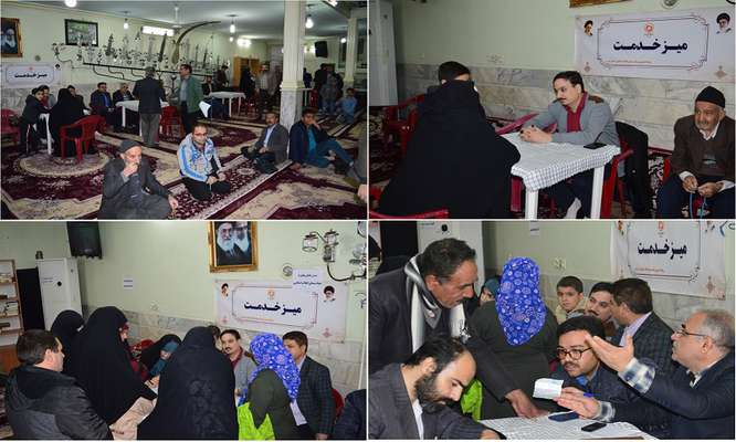 برپايي ميز خدمت بنياد مسکن انقلاب اسلامي استان قم در منطقه شيخ آباد