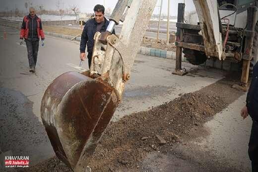 شروع عملیات کاتر زنی و لکه گیری آسفالت در معابر شهرک خاوران