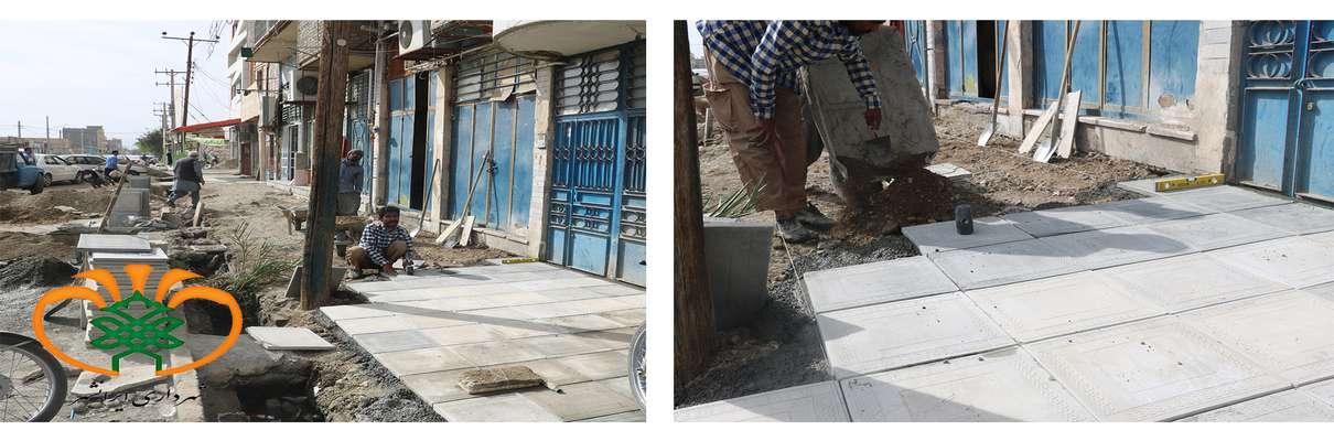 اجرای کف سازی و پیاده رو سازی خیابان فردوسی