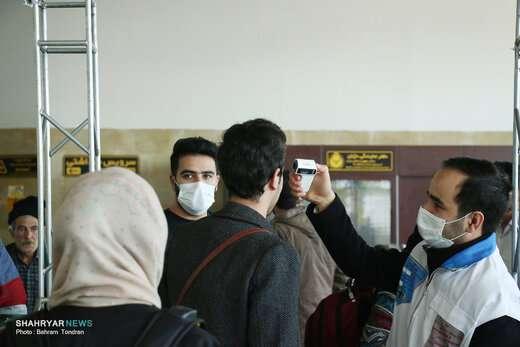 کنترل مسافران ترمینال تبریز در برابر ویروس کرونا