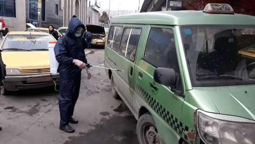ضد عفونی کردن تاکسی های تبریز توسط شهرداری