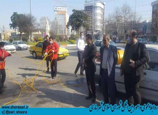 عملیات ضد عفونی سطح شهر ساری با حضور رئیس شورای اسلامی شهر و شهردار انجام گرفت