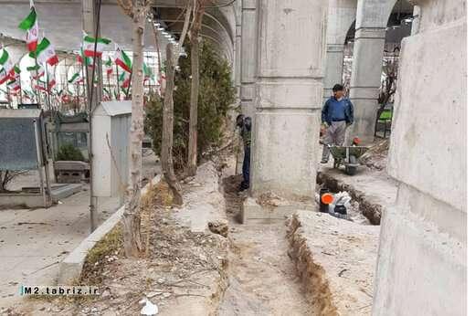 عملیات لوله گذاری برای تکمیل فاز ۲ پروژه مسقف سازی گلزار شهدای وادی رحمت