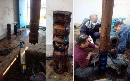 تعویض الکتروپمپ 4 حلقه از چاههای آبفای صومعه سرا