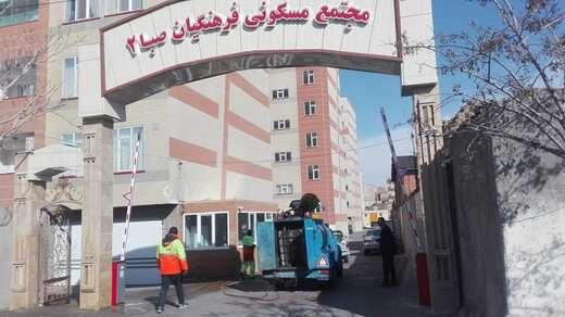 اجرای عملیات ضدعفونی در مجتمع های مسکونی شهرداری منطقه ۶ تبریز