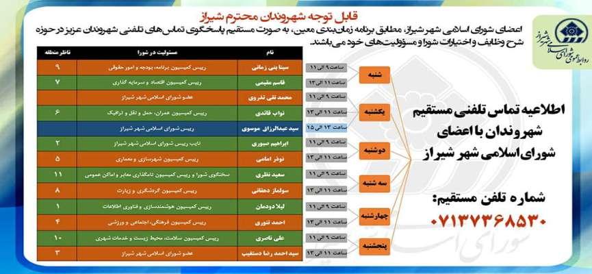 اطلاعیه/ شیرازیها درخواستهای خود را با تماس تلفنی مستقیم با اعضای شورای شهر در میان بگذارند
