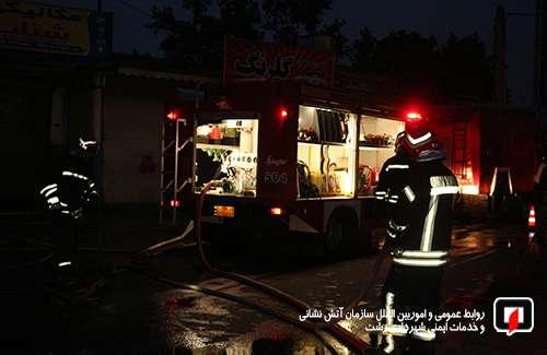 صبح امروز؛ تلاش 42 آتشنشان در پی آتش سوزی مغازه در بلوار ولیعصر(عج) رشت / آتش نشانی رشت