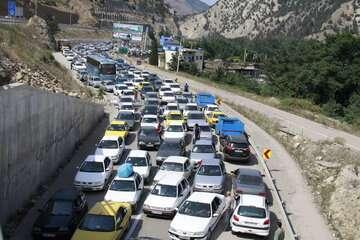 ترافیک سنگین در جاده چالوس در مسیر جنوب به شمال