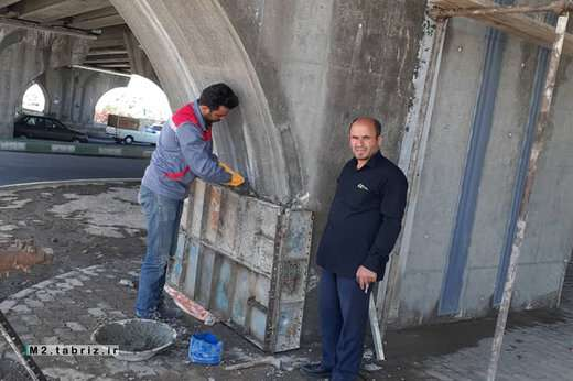 تداوم مرمت و بهسازی پل پیشقدم از سوی شهرداری منطقه ۲ تبریز