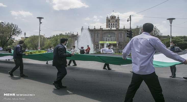 بزرگترین پرچم فلسطین در تبریز رونمایی شد + تصاویر