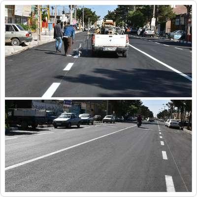 عملیات رنگ آمیزی خطوط راهنمایی خیابان وحدت