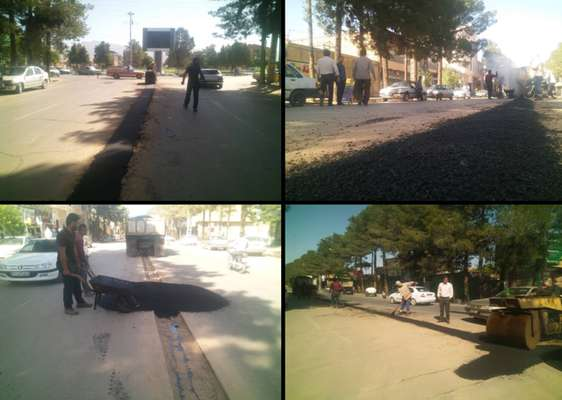 لكه گیری نوارهای حفاری شده خیابان بهشتی آغاز شد .