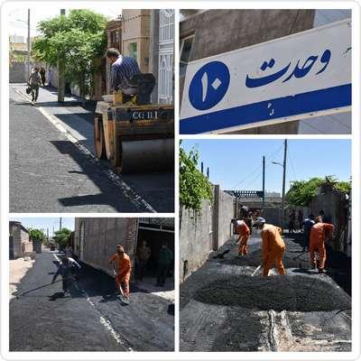 عملیات زیرسازی و آسفالت خیابان وحدت 10