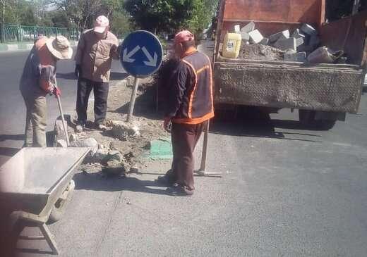 تداوم عملیات بهسازی معابر غرب تبریز