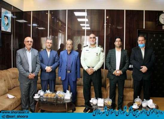 دیدار رئیس و اعضای شورای اسلامی شهر ساری با فرماندهی جدید انتظامی استان مازندران