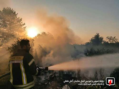 عملیات آتش نشانان در پی آتش سوزی علفزارها رو به افزایش است/ آتش نشانی رشت