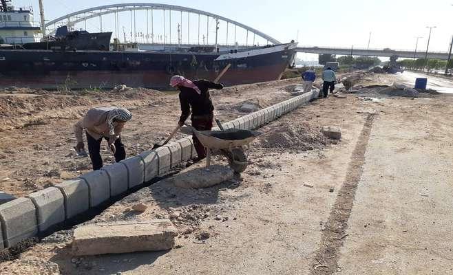 گزارشی از آخرین وضعیت پروژه ساحل سازی ضلع جنوبی رودخانه کارون توسط شهرداری خرمشهر