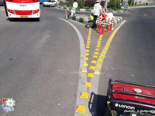 نصب گل میخ و سیلندرهای ترافیکی در خیابانهای الهیه و سیدلر