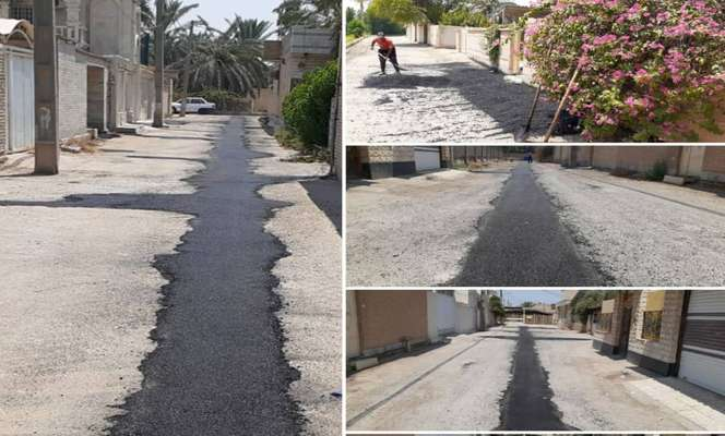 مراحل پایانی عملیات آسفالت نوارهای حفاری معابر نهر دوم کوی محرزی توسط شهرداری خرمشهر