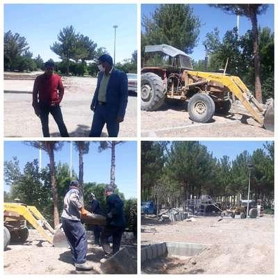 جدول کشی و بهسازی محل بازی کودکان در پارک لاله شهر سربیشه