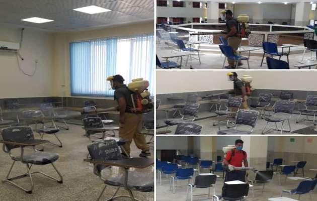 حوزه های برگزاری آزمون کارشناسی ارشد توسط شهرداری خرمشهر ضدعفونی شدند