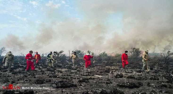مهار آتش سوزی در پناهگاه حیات وحش میانکاله