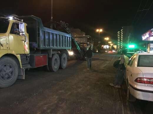 آسفالت تراشی خیابان عباسی از مقابل جایگاه بنزین شهید بابائی