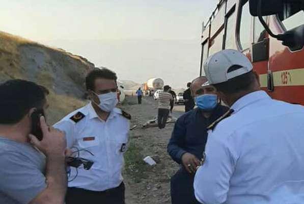 واژگونی تانکر گاز در جاده الموت
