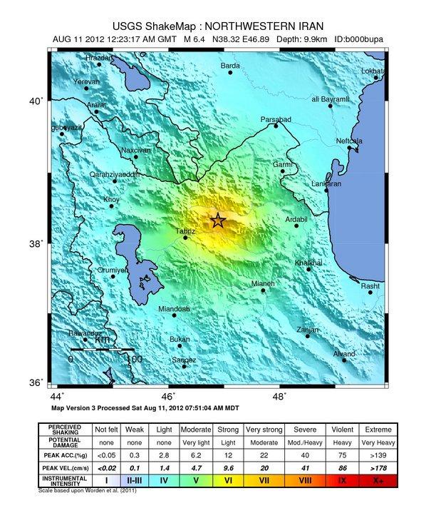 گسل تبریز و یا یکی از شاخه های آن مسبب زلزله ۲۱ مرداد