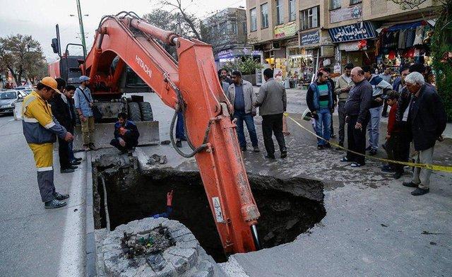 نشست زمین در خیابان شهدای همدان