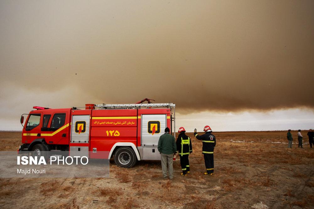 آتش سوزی در تالاب میقان - اراک