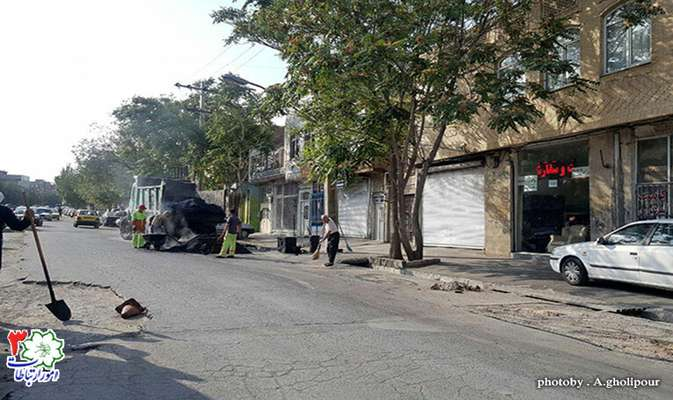 لکهگیری آسفالت و چاله زدایی خیابان اسلامشهر