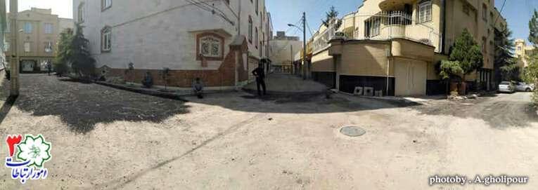 آسفالتریزی کوی استادان یک در خیابان شهید منتظری