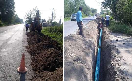 توسعه شبکه آب شرب در روستای نوشر خشکبیجار شهرستان رشت