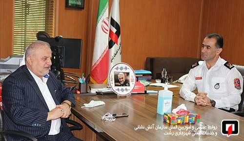 حضور رئیس شورای اسلامی شهر رشت در جمع آتشنشانان شهر باران/آتش نشانی رشت